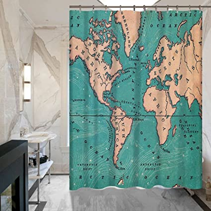 Amazon krwhts world map print educational geographical earth in krwhts world map print educational geographical earth in my bathroom direction ability ocean journeys voyager novelty gumiabroncs Image collections