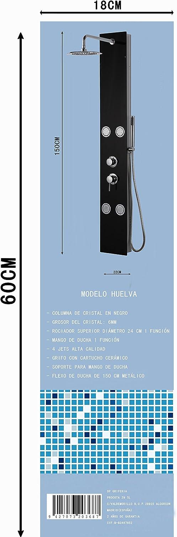 DP Grifería - Columna de ducha hidromasaje en cristal, color negro ...