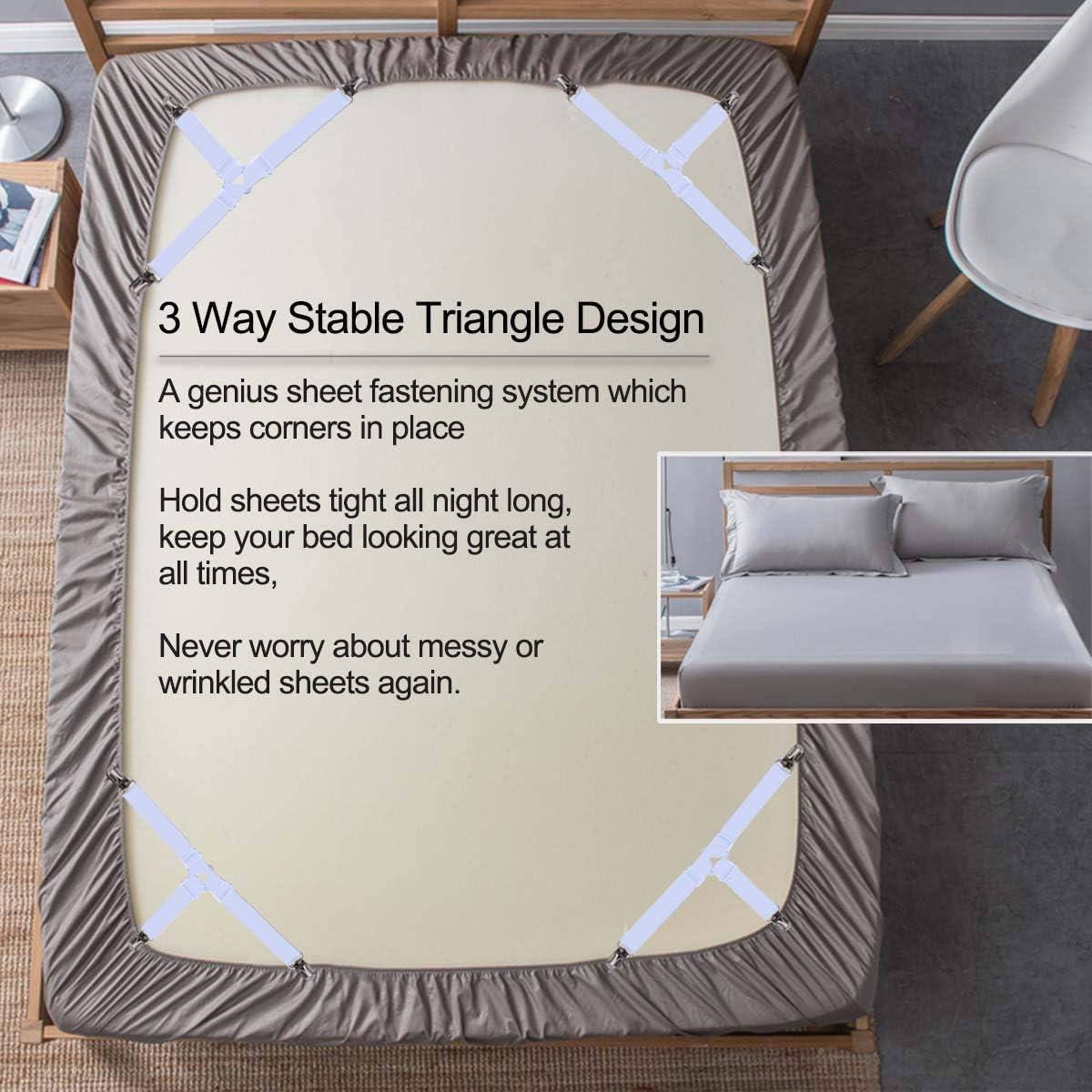 Triangle Drap de Lit Attaches 4Pcs Blanc Triangle Sheet Fasteners Pinces De Drap De Lit Fixe,Fixe draps Housse /élastiques /élastique Tendeur de Draps R/églable Sangle pour Matelas