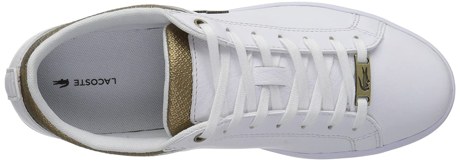 Lacoste Women's Straightset Sneakers B071GQ4VY1 7 B(M) US|White/Gold Leather