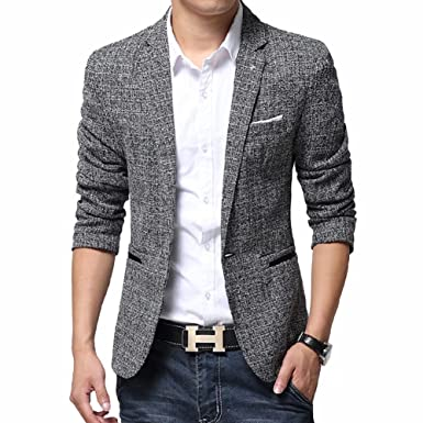 9fbb8c6d5d BiSHE Men`s Linen Stylish Blazer Light Weight One Button Slim Fit Smart  Formal Suits