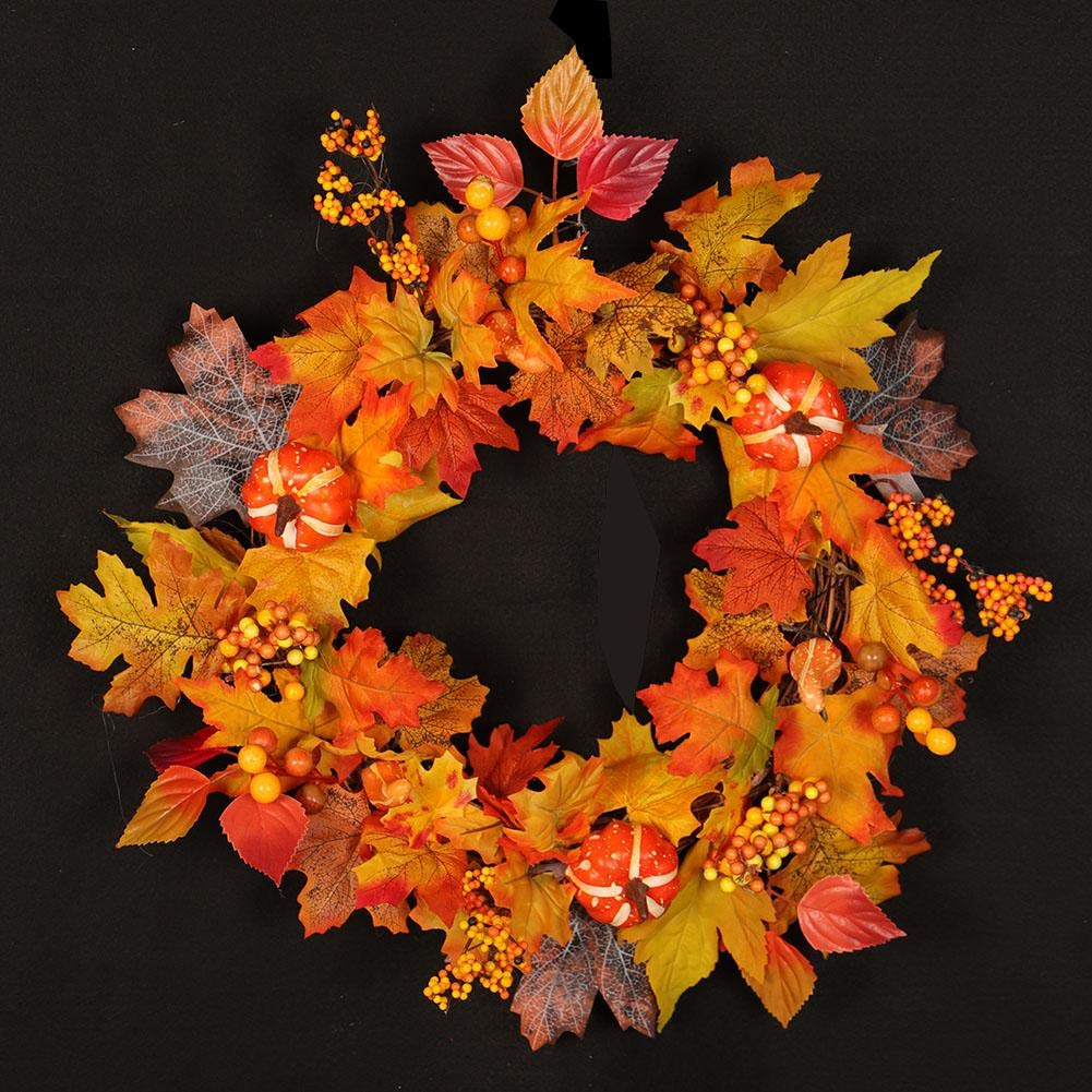 Christmas Thanksgiving Day Fall Door Wreath 19.69inch - Maple Leaf Bowknot Mountainside Autumn Berries and Foliage Enhance Home Decor, for Covered Outdoor Use