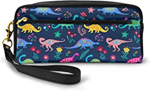 AHOOCUSTOM Zipper Makeup Pouch Pencil Case for Girls Boys Kids Teen, School Office Multi-Functional Stationery Soft Leather Cosmetic Bag Portable - Cute Dinosaur T Rex