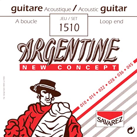 Savarez 668727 - Cuerdas para Guitarra Acústica Argentine juego Extra Light con lazada 1510