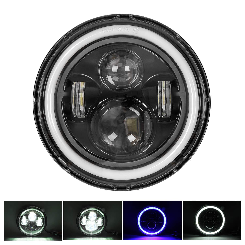 Wasserdichter Angel Eye Ring DRL /& blaues Blinkerlicht H//L Lichtstrahl f/ür Wrangler CJ 7 150W LED Scheinwerfer f/ür Harley Davidson