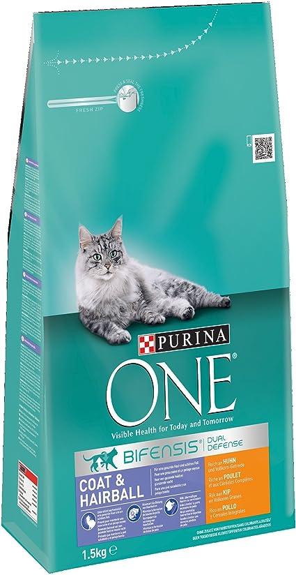 PURINA ONE Bifensis Pienso para Gatos Cuidado de Pelaje y Bolas de ...