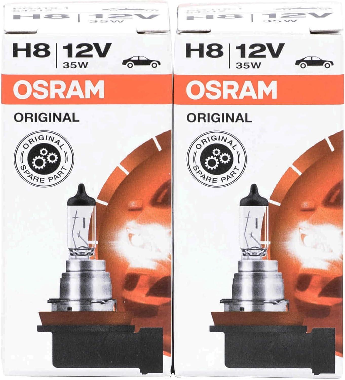 OSRAM 64212 2X H8 35W / 12 V DE ALTA TECNOLOGÍA DE LARGA DURACIÓN HALOGENA coche de la lámpara bombilla de la lámpara PAQUETE DE 2-Filtro UV OEM estrenar en el empaquetado ORIGINAL