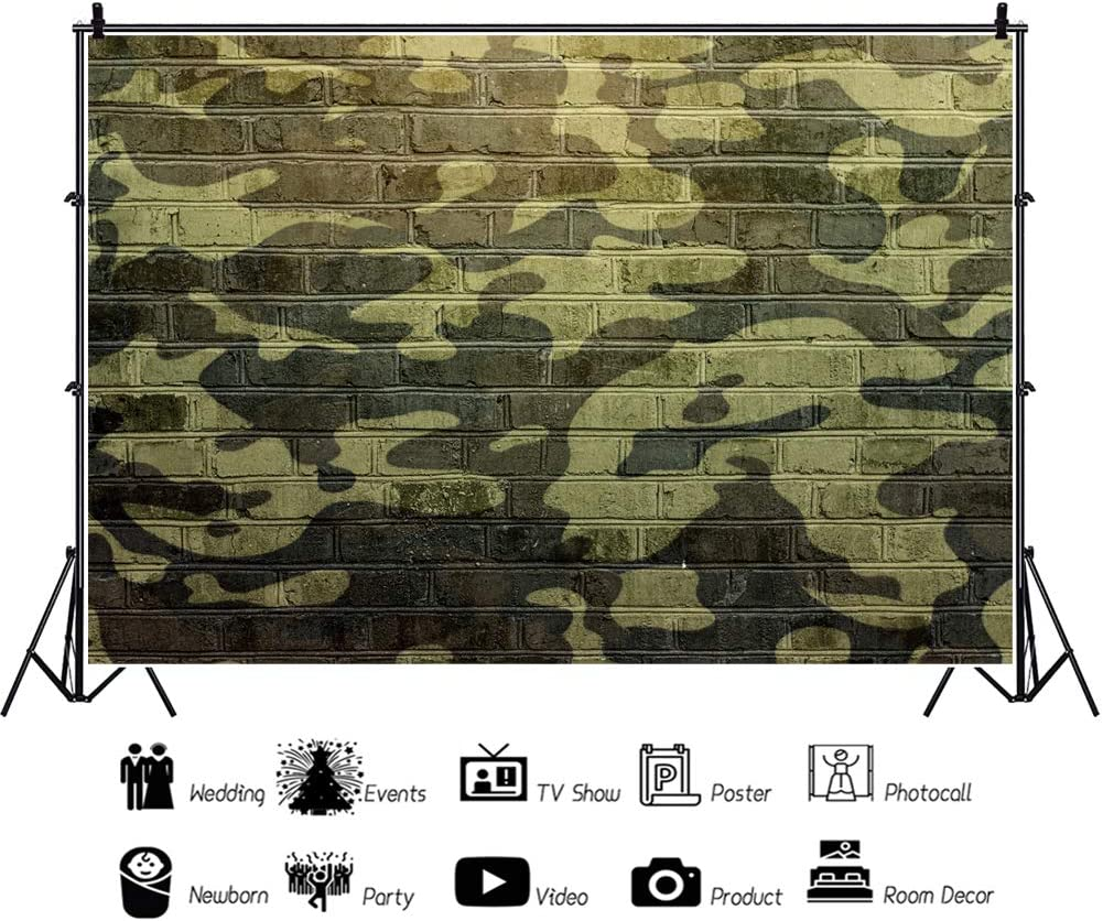 YEELE Camouflage Color Wall Backdrop 10x8ft Military Pattern Brick Wall Photography Background Kids Youngster Adults Portrait YouTube Videos Dessert Table Decor Photobooth Props Digital Wallpaper