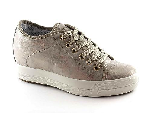 IGI&CO 77992 taupe scarpe donna sneakers lacci pelle zeppa interna 40 2UMuXX