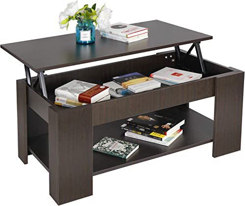 ZENY Lift Top Coffee Table with Hidden Compartment and Storage Shelves Modern Furniture for Home, Living Room, D cor
