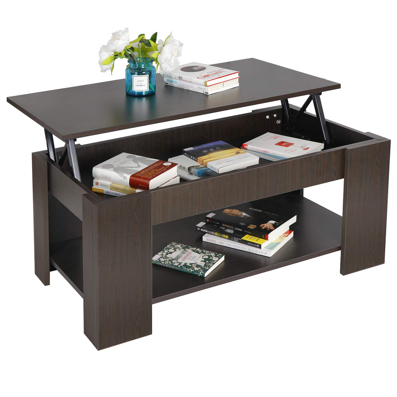 ZENY Coffee Table with Lift Top Hidden Compartment and Storage Shelves Modern Furniture for Home, Living Room, Décor by ZENY