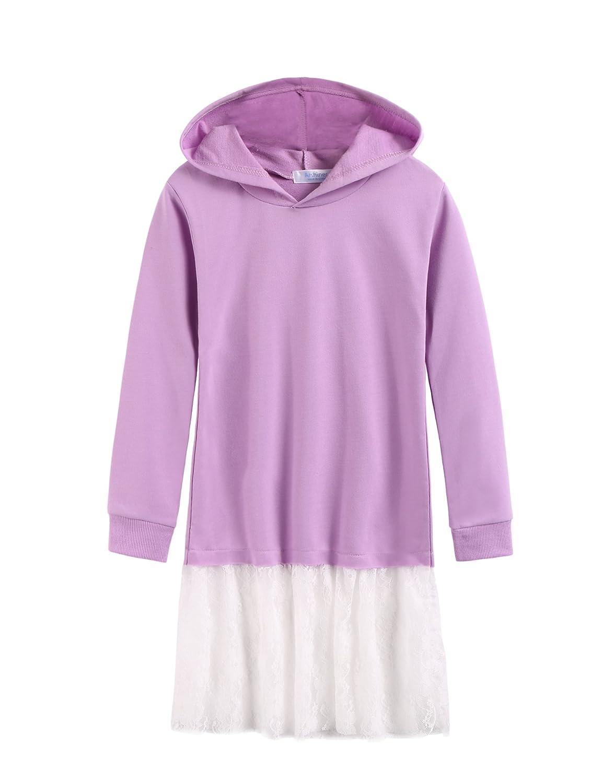 Arshiner Girl's Casual Long Sleeve Sweatshirts with Hoodie Purple 140 AMS005236_PU_140