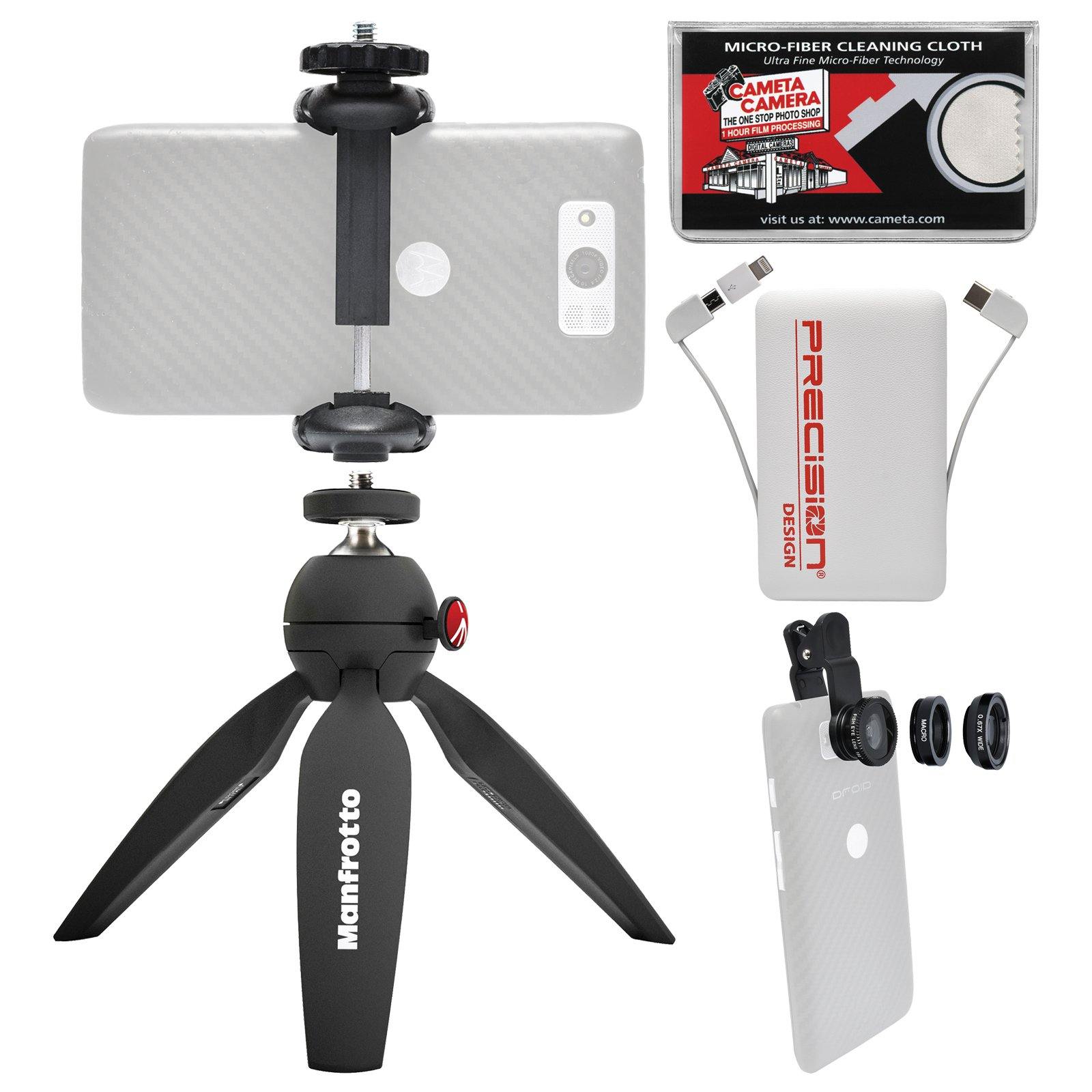 Manfrotto PIXI Mini Tripod (Black) with TwistGrip Clamp + Fisheye, Macro & Wide-Angle Lens Set + Power Bank Kit All iPhone & Android Smartphones by Manfrotto