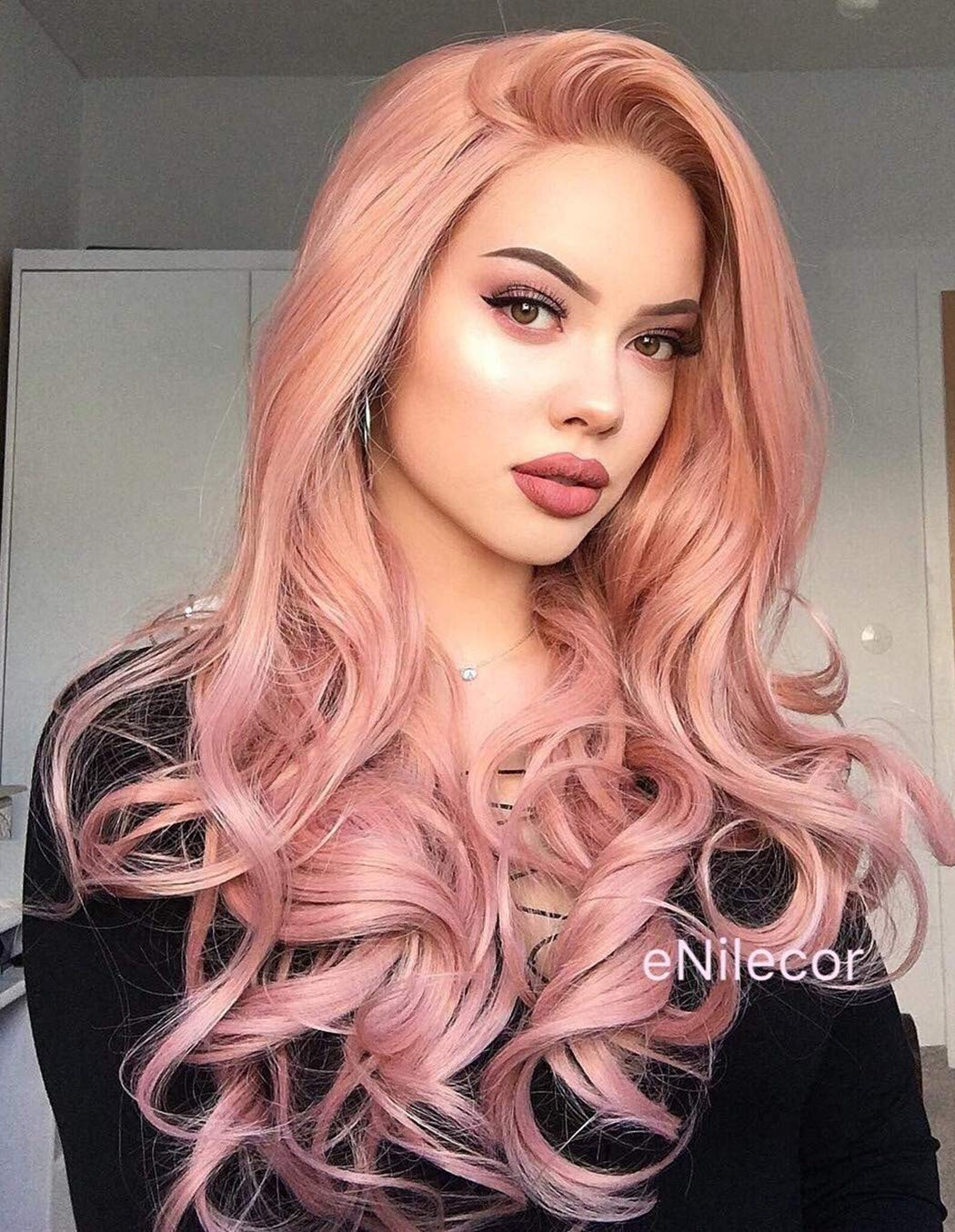 eNilecor Pink Lace Front Wigs,Long Curly Synthetic Color Lace Wig Hair Replacement Wigs for Women 22 Inches with Wig Cap (Pink) by eNilecor