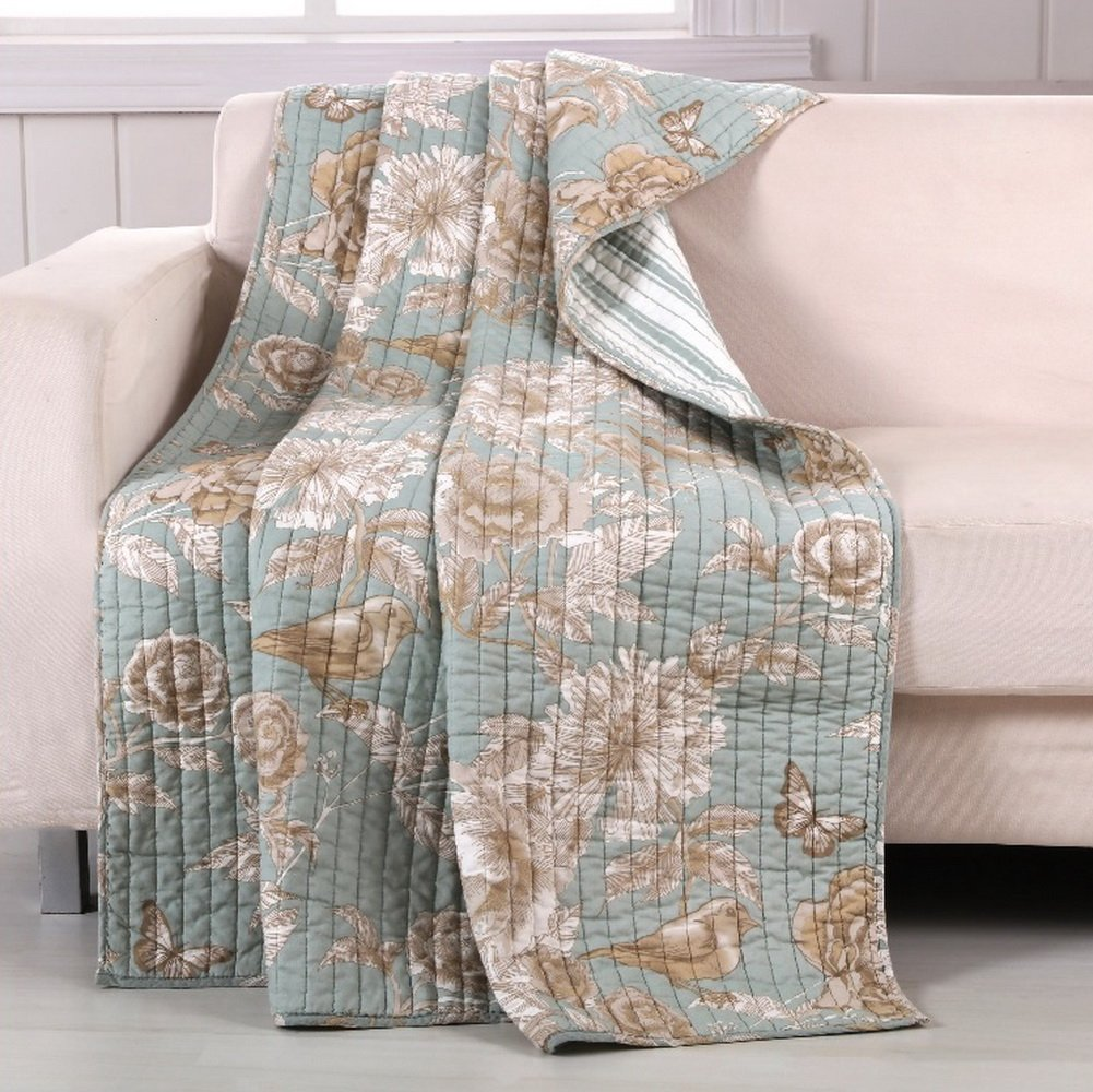 Finely Stitched Quilt Throw Lap Blanket Brushed Microfiber Chic Cottage Style Flowers Leaves Birds Butterflies Print Pattern Spa Green Taupe Luxury Reversible Bedding - Includes Bed Sheet Straps