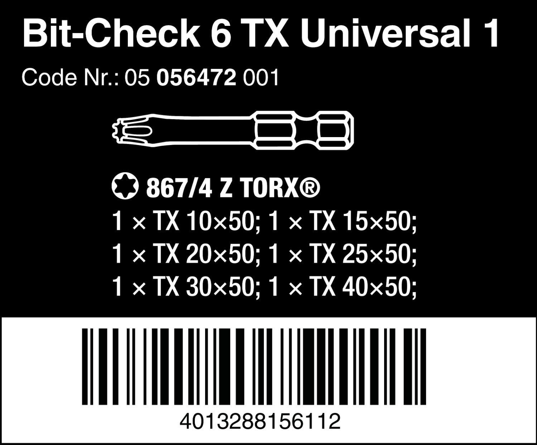 Wera 05056472001 Mini-Check Set Torsion Extra tough 50 mm Direct Drive Torx TX10-40 6pc