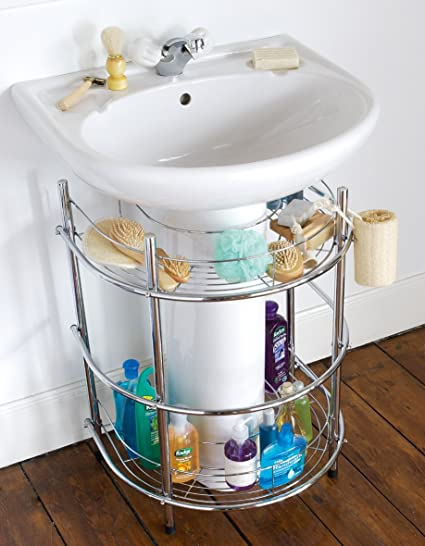 Estantería de almacenamiento de cuarto de baño para bajo el lavabo cromo lavabo
