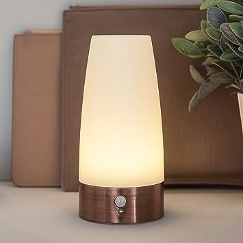 Lights4fun Lámpara de Mesa cilíndrica con Sensor de Movimiento de LED con Base de Cobre: Amazon.es: Hogar