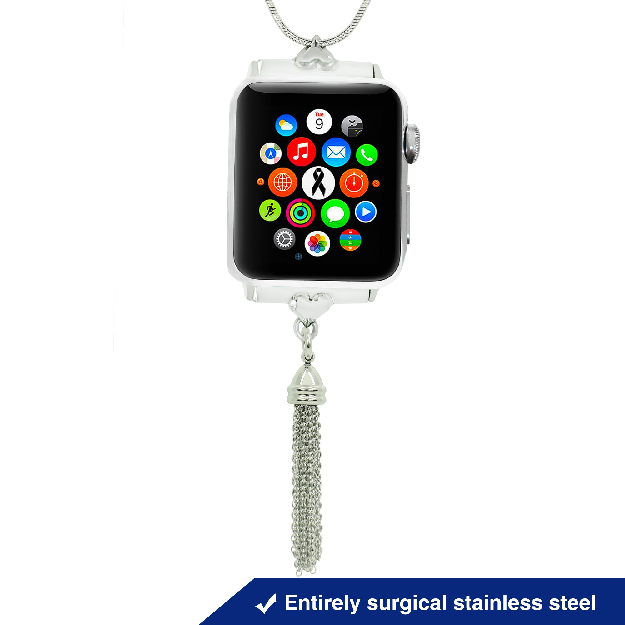 Divoti Apple Watch Necklace – 30'' Snake Chain iWatch Necklace w/Tassel – iWatch Necklace Changer for Apple Watch Series 3/2 / 1-38 mm – Entirely Surgical Stainless by Divoti (Image #1)