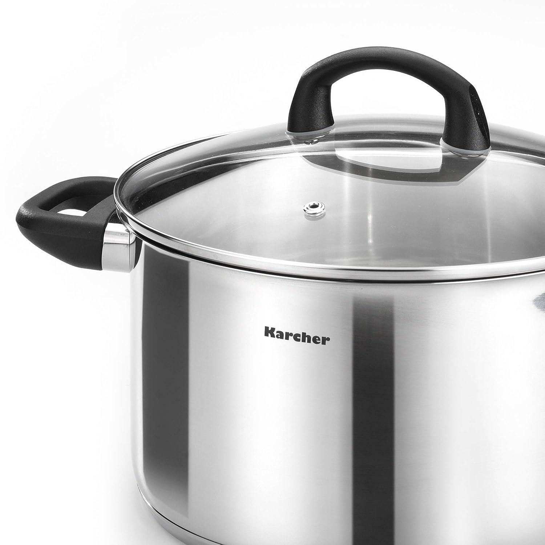 Karcher Mia Batería de cocina, 5 piezas, acero inoxidable, apta para inducción: Amazon.es: Hogar