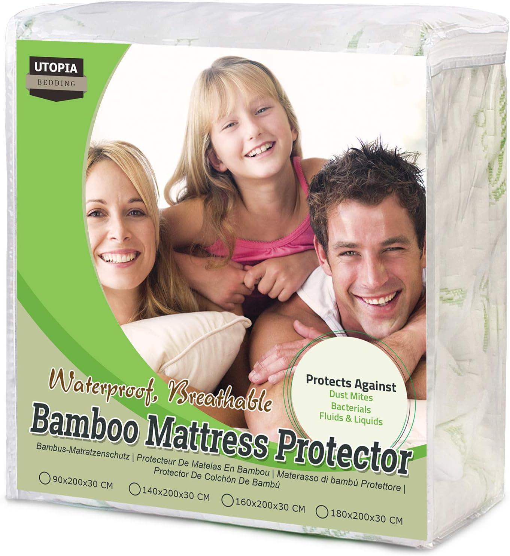 Utopia Bedding Protector de colchón Impermeable de bambú Funda de colchón hipoalergénica y Ajustable (160 cm x 200 cm x 30 cm)