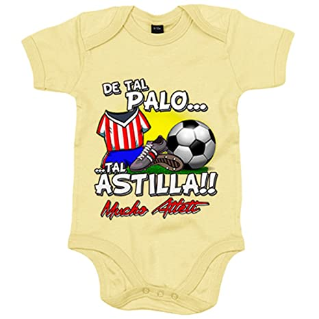 Body bebé De tal palo tal astilla Atlético fútbol Atleti - Amarillo ... 4599831d082eb