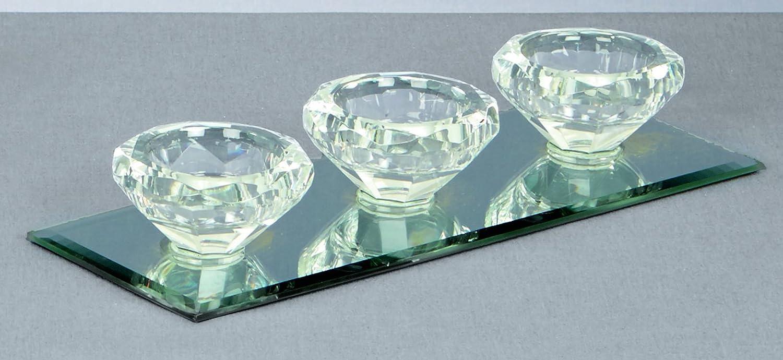 9cm triplo diamante a forma di cristallo porta candela con una base a specchio premier