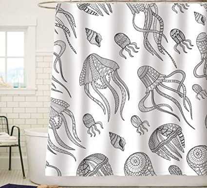 Sunlit Contemporary Jellyfish Squid Tentacles Sea Snail Fabric Shower Curtain Abstract Art Creative Ocean