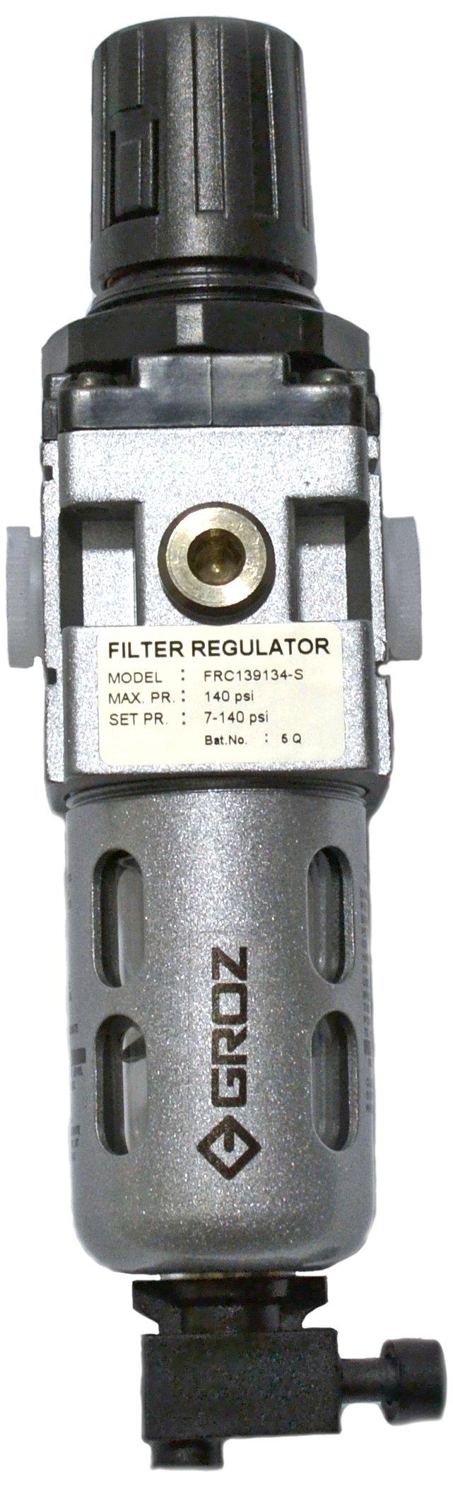 GROZ ¼'' NPT Miniature Air Filter-Regulator Combination  Polycarbonate Bowl   20 CFM Max Flow Rate   145 PSI Max Pressure (60351) by Groz
