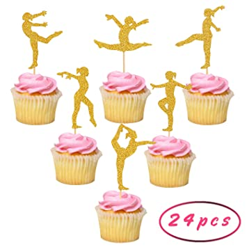 Gymnastics Cupcake Toppers For Gymnast Theme Party Girls Birthday Supplies Baby Showr