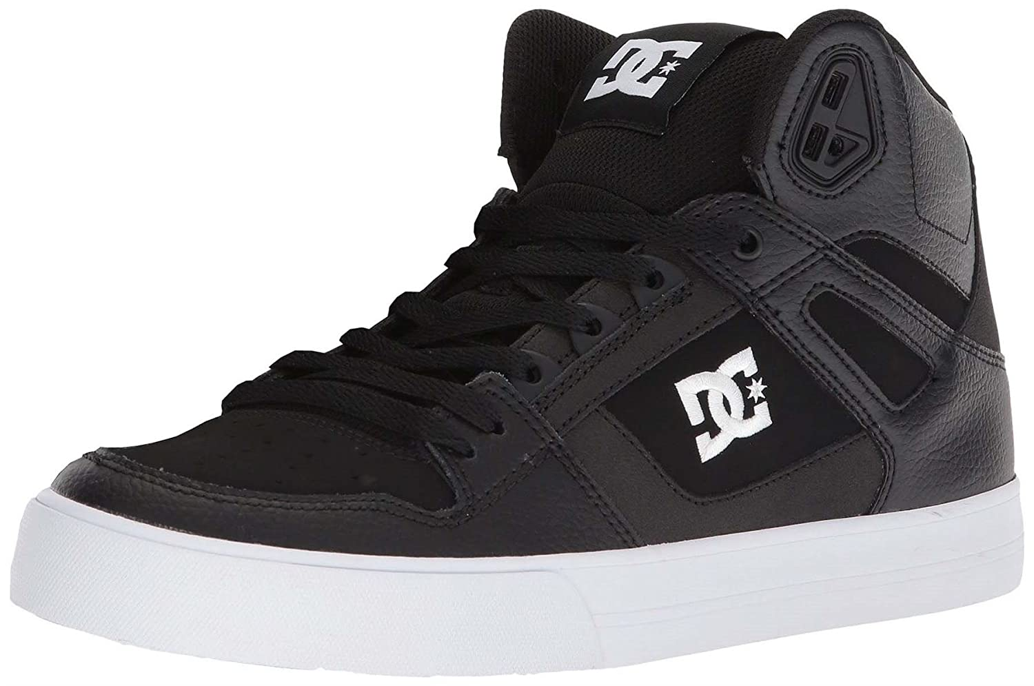 #DC Pure WC Black White Mens Leather High Top Trainers