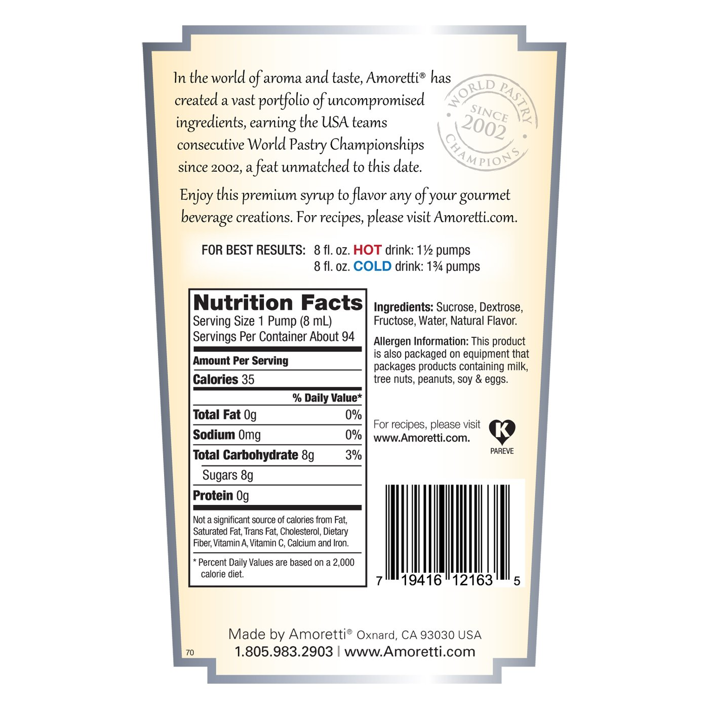 Amoretti Premium Syrup, Irish Cream, 25.4 Ounce by Amoretti (Image #2)