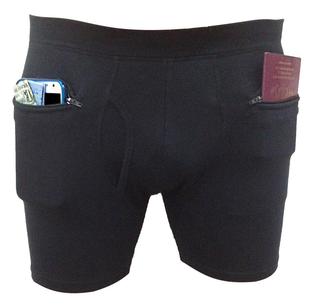 Clever Travel Companion Men's Underwear with Secret Pocket, Black, Medium