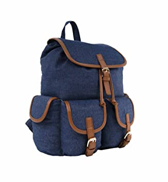 eeb29ed7d6 GOLDSTAR Ladies Girls Fashion Canvas Backpack Rucksack School College Uni  Travel Casual Bag Daypack - Denim Navy  Amazon.in  Bags