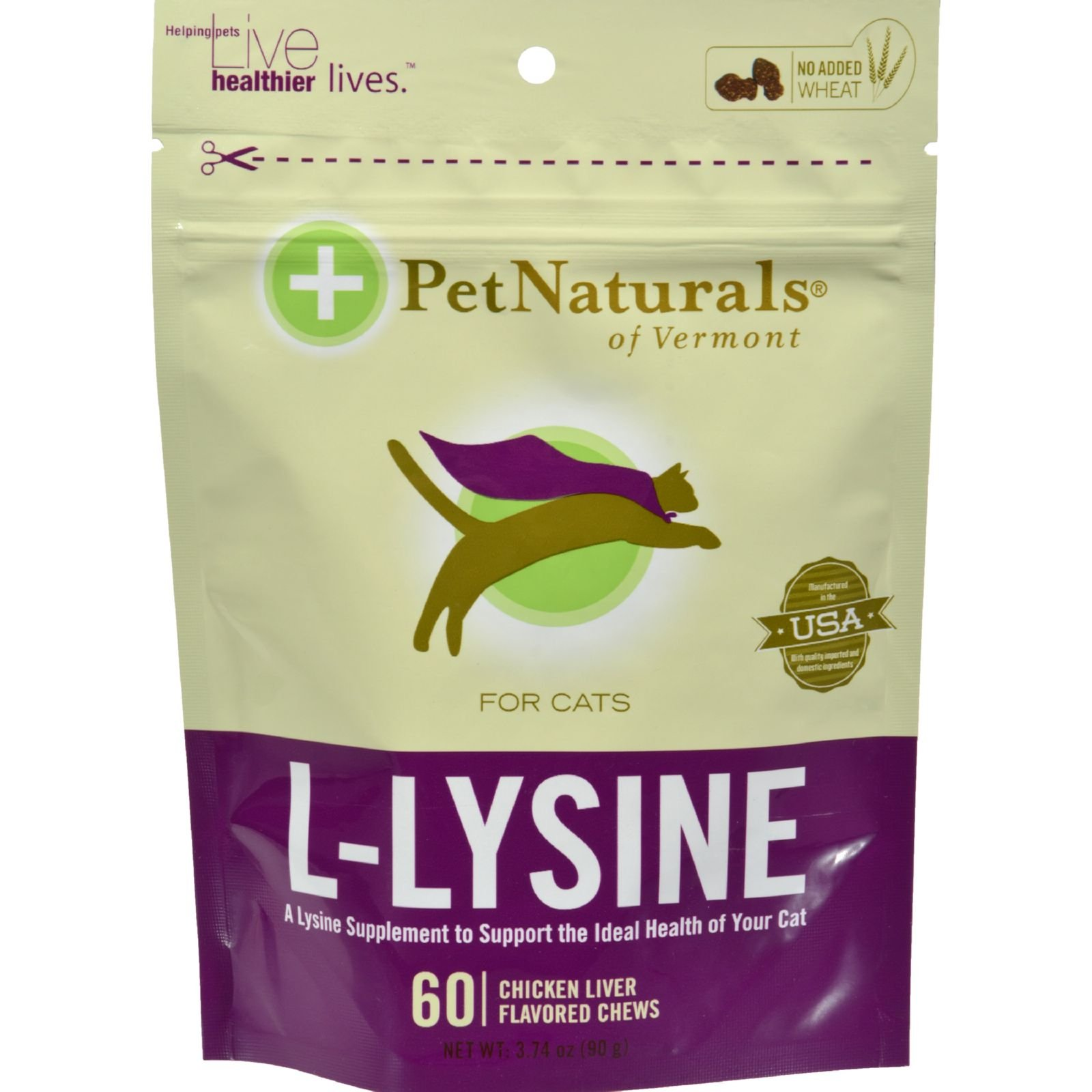 Pet Naturals of Vermont L-Lysine for Cats Chicken Liver - 60 Chewables (Pack of 2) by Pet Naturals