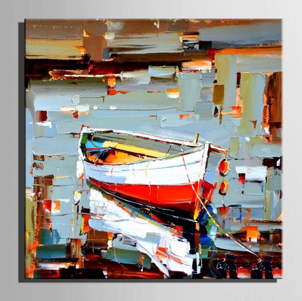 Arte hecho a mano recipiente atracado Modern Canvas Artwork Contemporary Abstract Paintings on Canvas Arte de la pared para el hogar Decoraciones Decoración de la pared estirado y listo para colgar,A_15.515.5in1pc