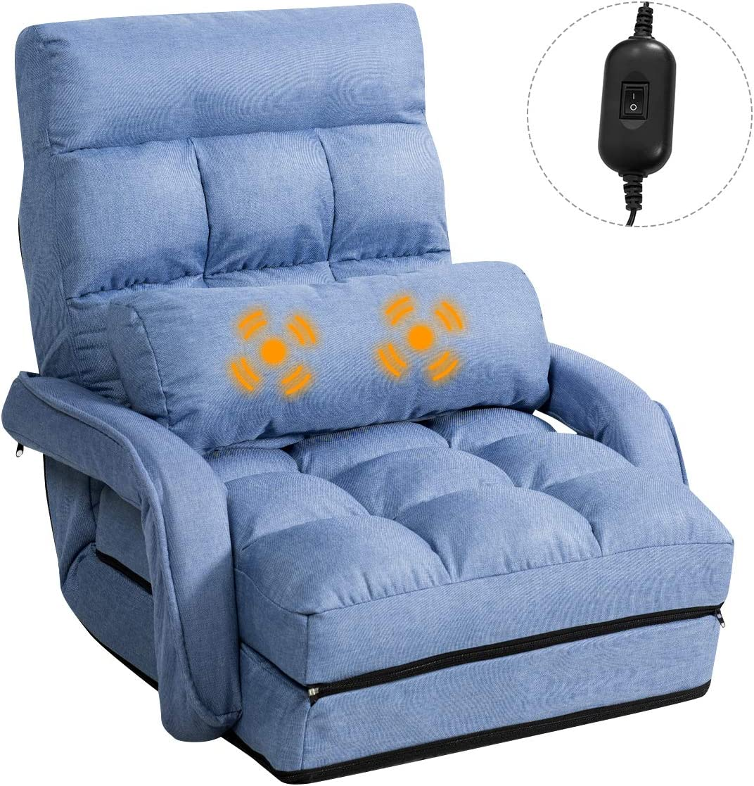 Giantex Updated Folding Massage Lazy Sofa Floor Chair Sofa Lounger Bed with Armrests and a Pillow Lounger Bed Chaise Couch Blue