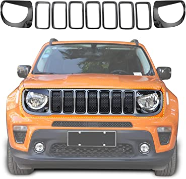 Yoursme Front Grille Inserts /& Front Light Headlight Cover Angry Bird Style Bezels Trim Cover for Jeep Renegade 2015-2018 Clip in Version ABS Red