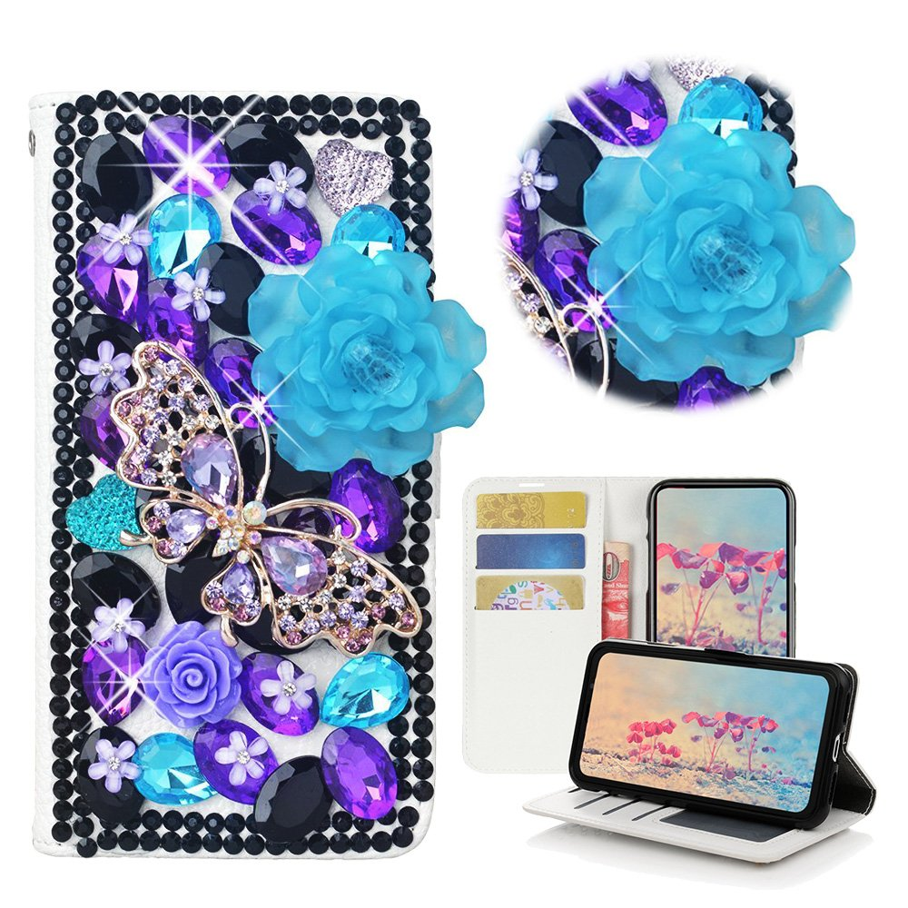 STENES LG Stylo 3 Case, LG Stylo 3 Plus Case - Stylish - 3D Handmade Bling Crystal Rose Butterfly Flowers Wallet Credit Card Slots Fold Media Stand Leather Cover Case - Violet