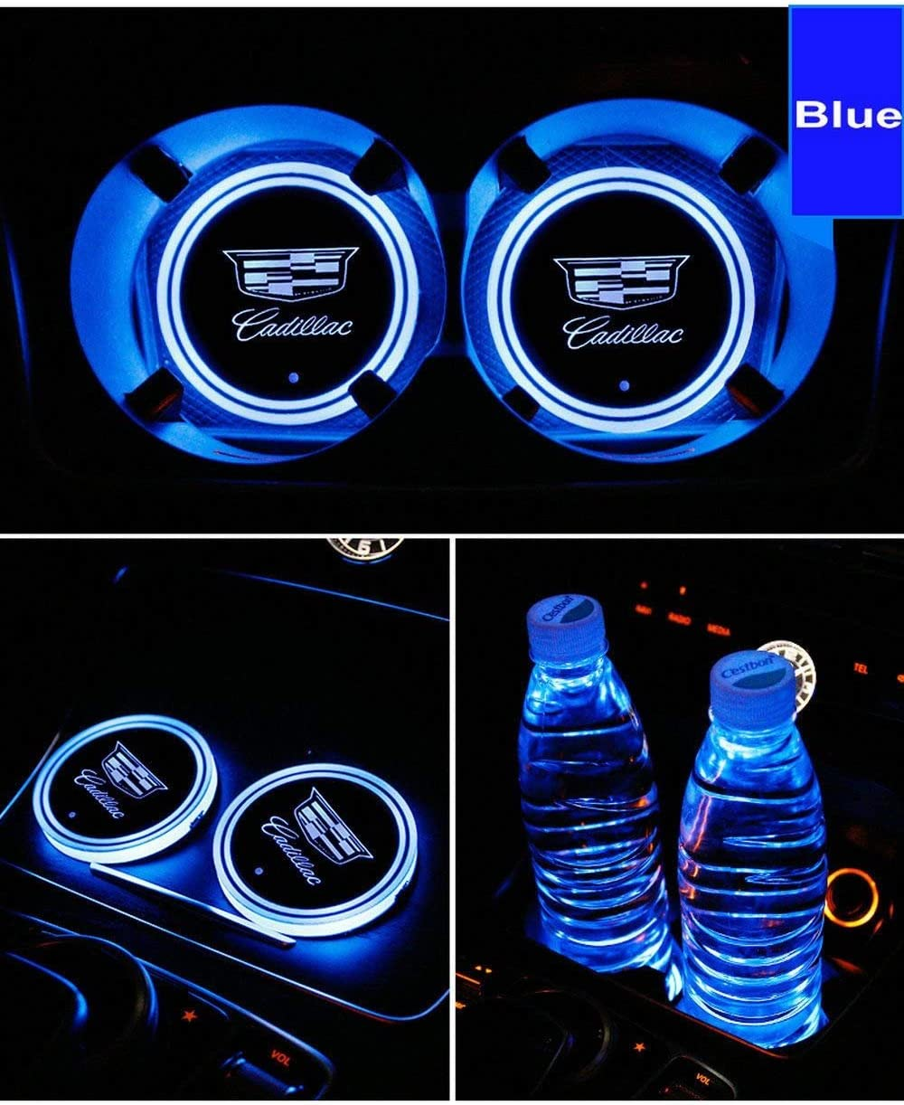 -J-e-e-p- LED Interior Atmosphere Lamp for All car Logo Dark rose 2pcs LED Car Cup Holder Lights 7 Colors Changing USB Charging Mat Luminescent Cup Pad