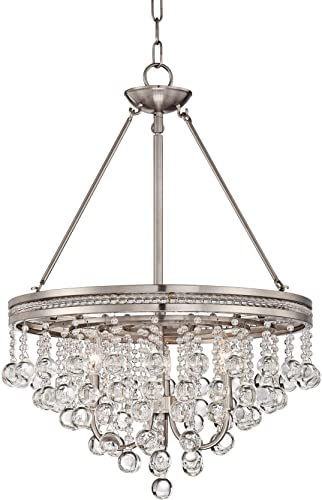 Regina Brushed Nickel Pendant Chandelier 19 Wide Clear Crystal Baubles 3-Light Fixture for Dining Room House Foyer Kitchen Island Entryway Bedroom Living Room – Vienna Full Spectrum