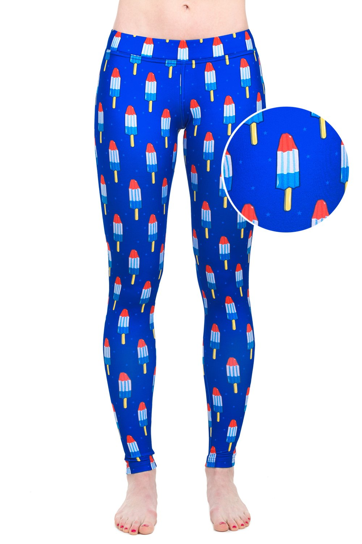 Tipsy Elves Women's USA Patriotic American Flag Leggings Pants (Medium, Bomb Pops)