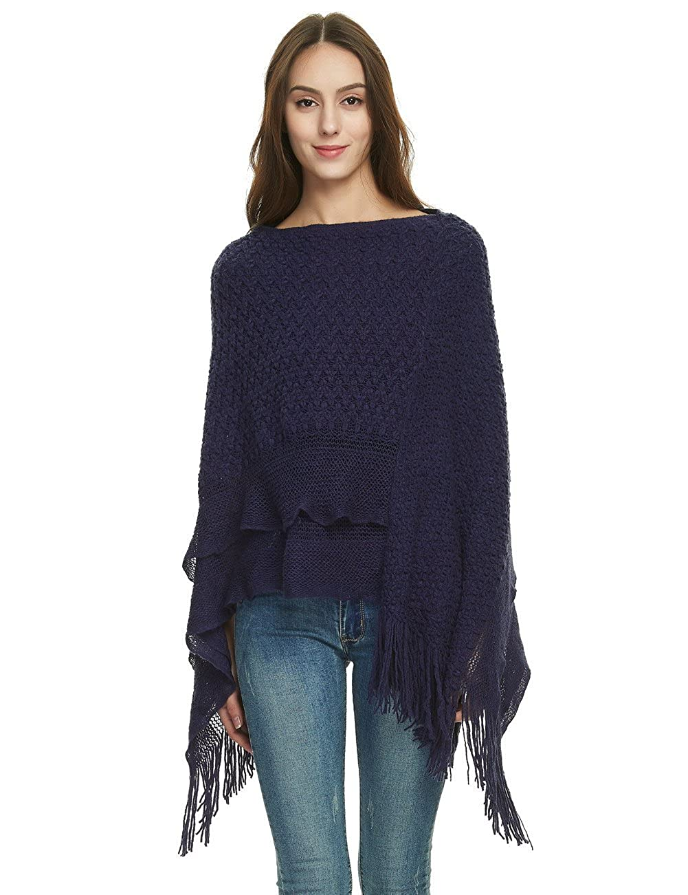 Ferand Women's Cable Knit Ruffle Poncho Sweater with Fringed Hems One Size Black