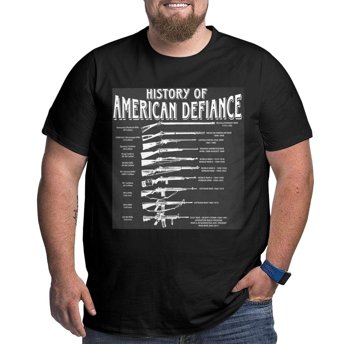 History of American Defiance Black Solid Plus Size Mens Cross Train Loose Plus Size T Shirts