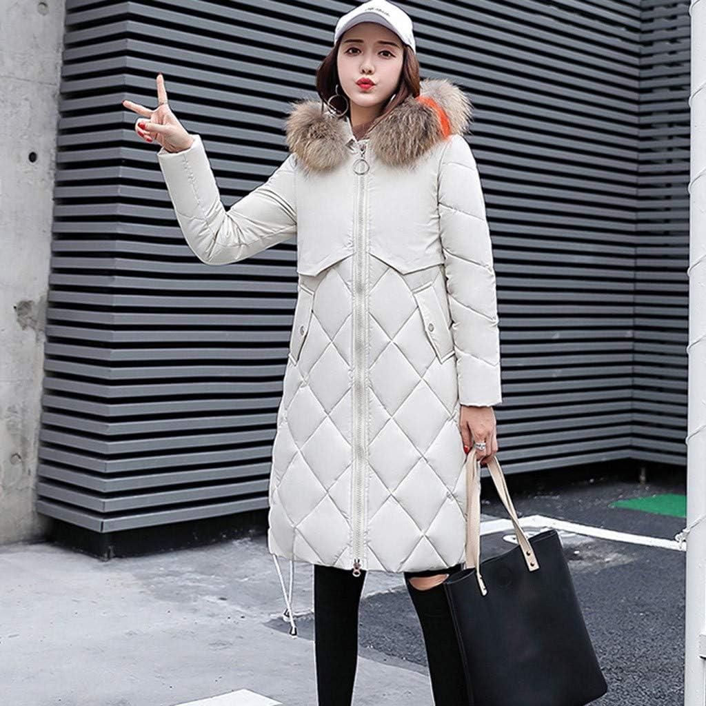Zainafacai Womens Hooded Faux Fur Thickened Long Down Jacket Winter Warm Down Parka Puffer Jacket