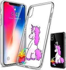 Girlscases® | iPhone XS Hülle, iPhone X / 10 Hülle | Einhorn Macht Regenbogen-PIPI | Transparente Schutzhülle mit Einhorn Regenbogen Unicorn Motiv | Aus TPU Silikon