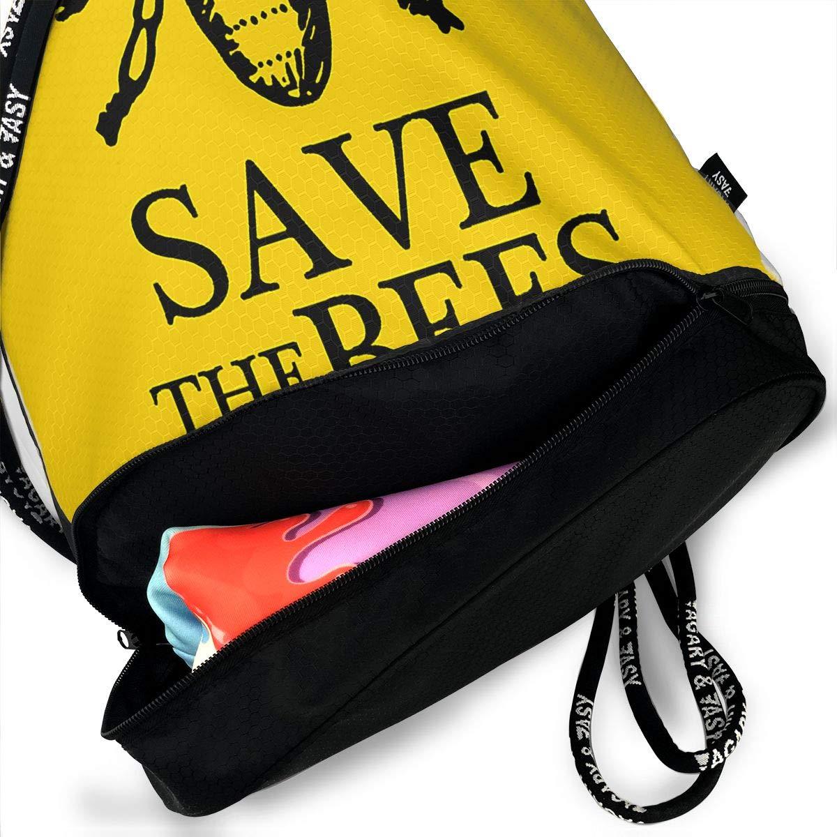 HUOPR5Q Bee Drawstring Backpack Sport Gym Sack Shoulder Bulk Bag Dance Bag for School Travel