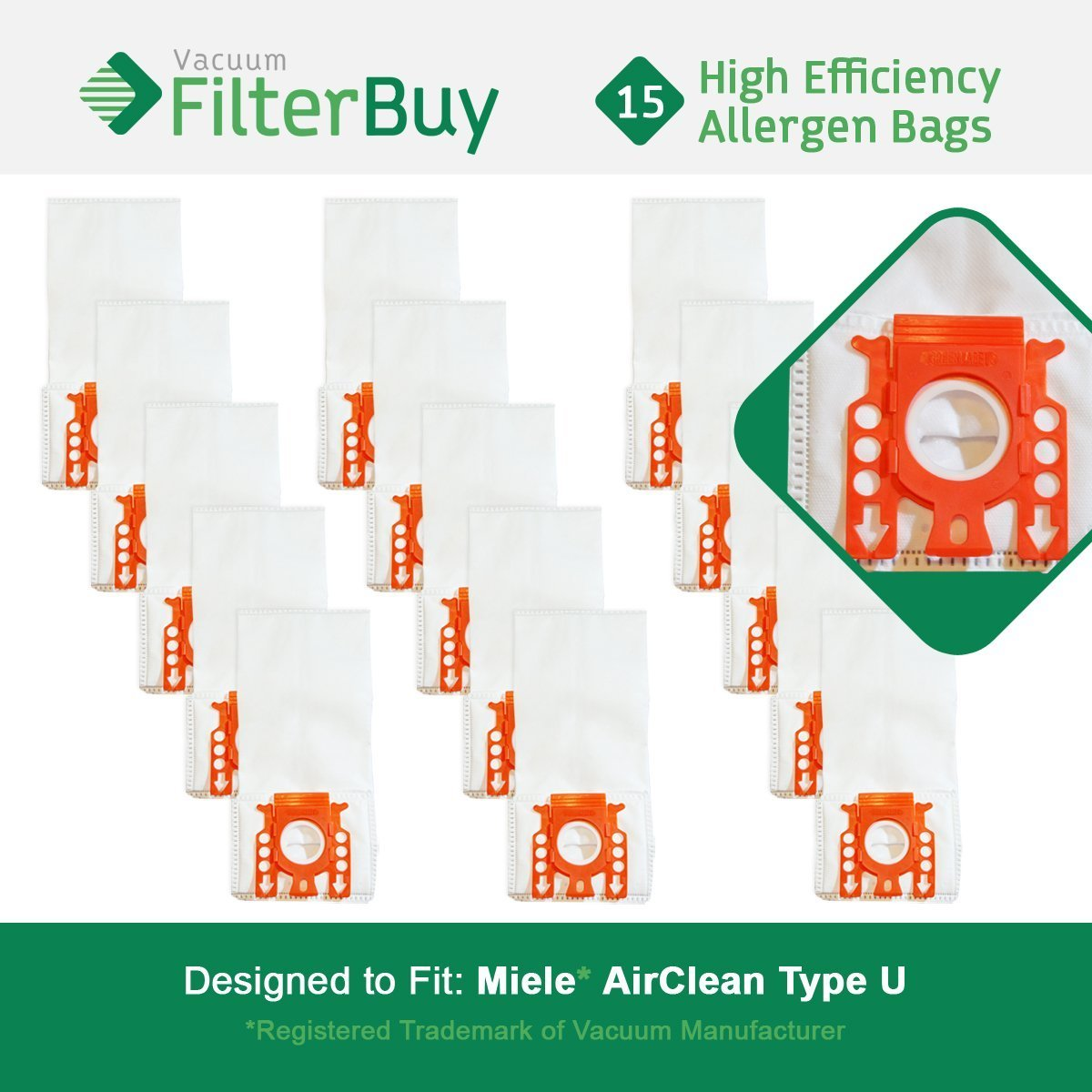 15 - Miele Type U Vacuum Bags, Replaces Miele Part 07282050. Designed by FilterBuy to fit Miele AirClean S7000-S7999 Upright Vacuum Cleaners   B06XWNK62F