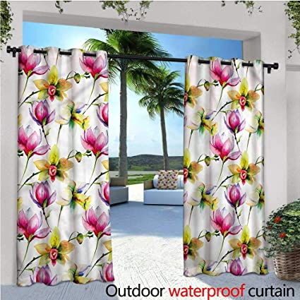 Amazoncom Warmfamily Floral Patio Curtains Vibrant Magnolia
