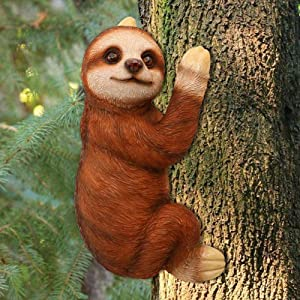 XCZZYC The Climbing Cat Tree Hugger/Tree Garden Peeker/Tree Sculpture Ornament - Gifts and Garden Décor Statue Face for Trees 23cm (Cat Black)-Sloth